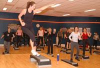 Eva geeft Body Step les bij Fitness First